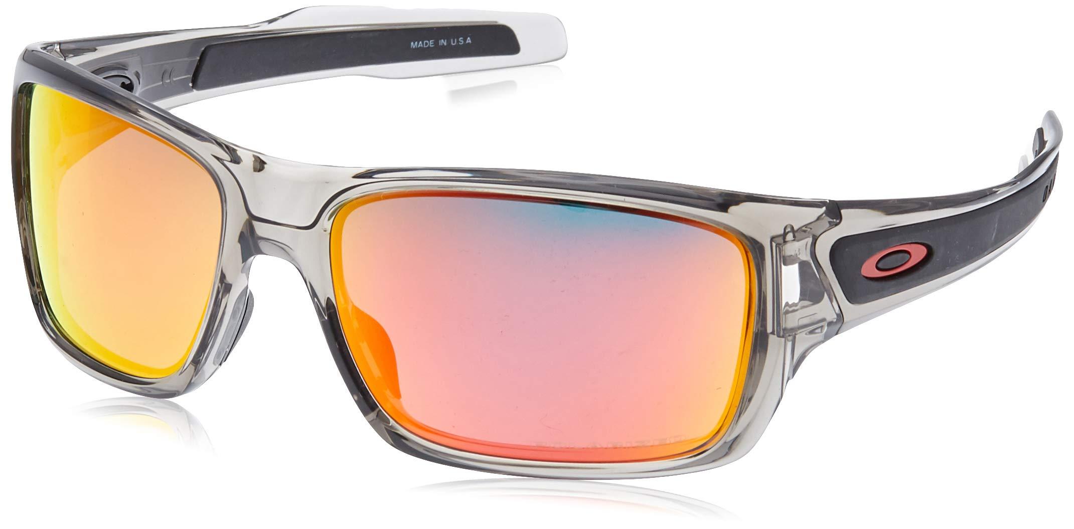 Oakley Men's OO9263 Turbine Rectangular Sunglasses, Grey Ink/Ruby Iridium Polarized, 65 mm by Oakley