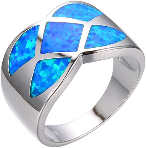 TFR Jewel Blue Fire Opal White Gold Filled Jewelry Vintage Ring for Women Best Gifts Wedding Rings