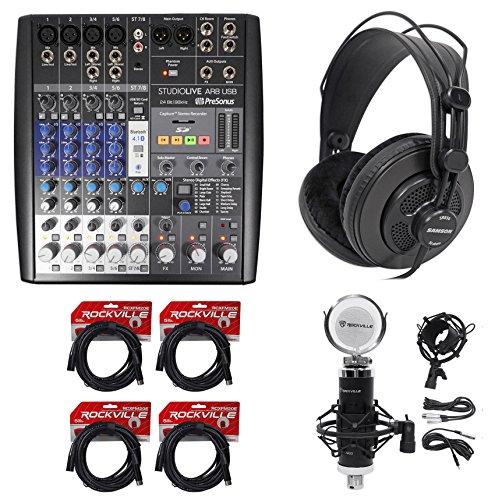 PRESONUS StudioLive AR8 8-Ch USB Live Sound/Studio Mixer+Headphones+Mic+Cables