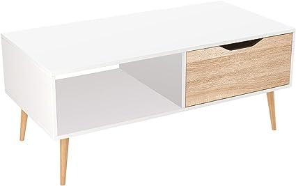 Homfa Tavolino Rettangolare Tavolo Da Salotto A Cassetto Singolo Bianco E Marrone 100 49 5 43cm Amazon It Casa E Cucina