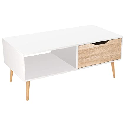 size 40 25e1b 34ddb Homfa Coffee Table Living Room Table Modern Side Table TV Stand Rectangle  Centre Table with Drawer 100x49.5x43cm