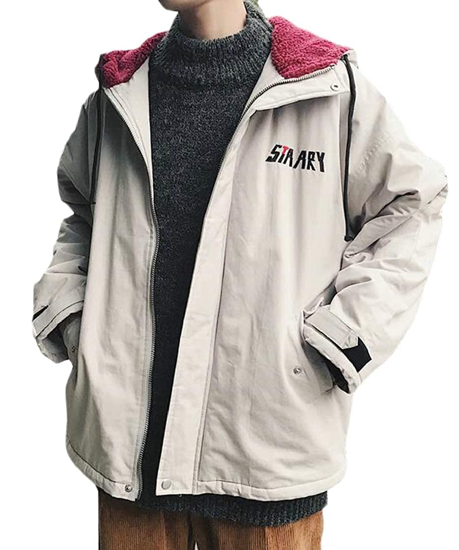 Suncolor8 Mens Plus Size Thermal Full-Zip Thicker Hoodie Relaxed Quilted Jacket Coat Outerwear