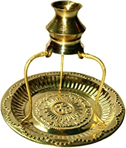 Radhna Indian Traditional Brass Plate Thali with Shivling Stand and Jal Abhishek Kalash Lota for Pooja Home Decor (Gold) | Puja Item