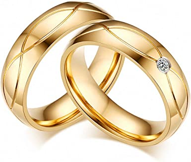 Amazon Com Wedding Bands Rings Women Men Gold Stainless Steel Engagement Ring Jewelry Men 7 Clothing