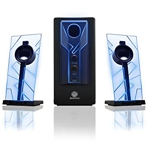 GOgroove BassPULSE Computer Speaker System with Blue LED Glow Lights & Powered Subwoofer