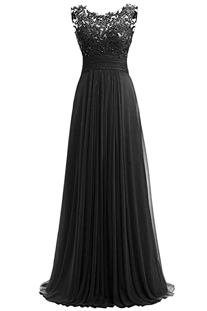 PROMLINK Women Beaded Chiffon Long Bridesmaid Dresses Formal Wedding Guest  Gown