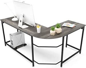 Hago Modern L-Shaped Desk Corner Computer Desk Home Office Study Workstation Wood & Steel PC Laptop Gaming Table (Large, Black Oak)