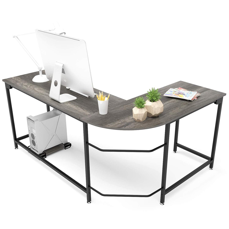 Hago Modern L-Shaped Desk Corner Computer Desk Home Office Study Workstation Wood & Steel PC Laptop Gaming Table (Small, Black Oak)