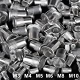 215pcs Aluminium M3/M4/M5/M6/M8/M10 Flat Head Threaded Rivetnut Set, Rivet Nut Insert Assortment Kit for Automotive/Industrial Application (60xM3 + 50xM4 + 40xM5 + 30xM6 + 20x M8 + 15xM10)