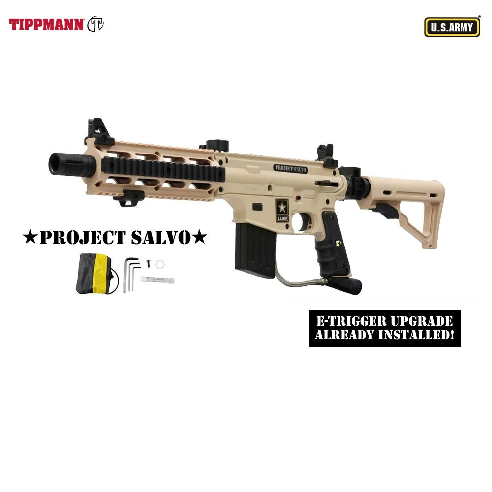 Tippmann Us Army Project Salvo W E Grip Paintball 98 Flatline Barrel Manual Gun Black Sports Outdoors