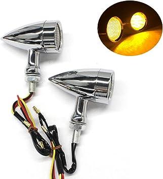 2pcs Universal Motorcycle Chrome//Silver Smoke Bullet Amber LED Turn Signal Light