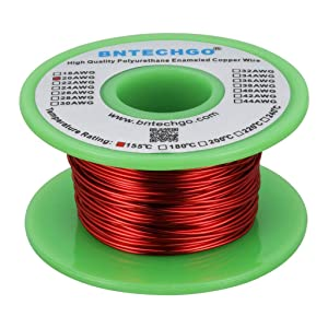 "BNTECHGO 20 AWG Magnet Wire - Enameled Copper Wire - Enameled Magnet Winding Wire - 4 oz - 0.0315"" Diameter 1 Spool Coil Red Temperature Rating 155℃ Widely Used for Transformers Inductors"