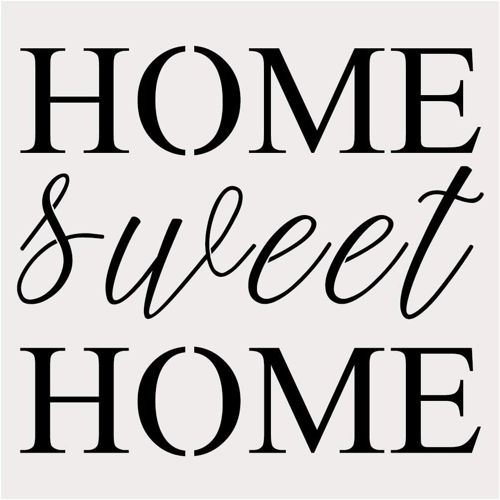 Home Sweet Home Alphabet Large Letter Stencil for Painting on Wood, Canvas, Walls, Floors, Fabrics and Furniture, Paint Wooden Signs, DIY Home Decor, Reusable Plastic Stencil(10