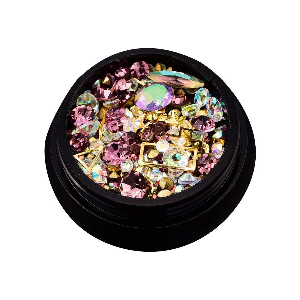 Rocita Pedrería de uña 3D, Cristales de uña, Rhinestone de Acrílico UV Gel Decoración Joyería para uña Natural y artificial clavos(rosa violado)