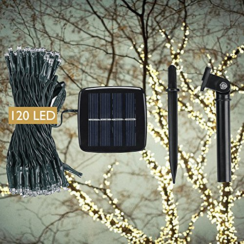 DeVida Solar String Lights 120 Warm White LED, Easy to Install, Automatically Comes on at Night, Outdoor Waterproof, Rechargeable Battery, 55 ft set Includes 13 ft Lead Wire Plus 42 ft Lighted (Outside Decorating Ideas)