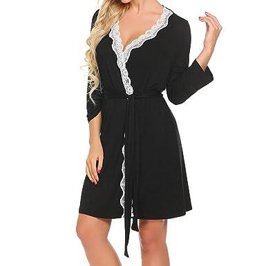 d521f9f657 Hibote Women Lace Patchwork Nightwear Kimono Robe Spa Robes Woman Wedding  Bridesmaid Robes Sexy Sleepwear Bathrobes  Amazon.co.uk  Clothing