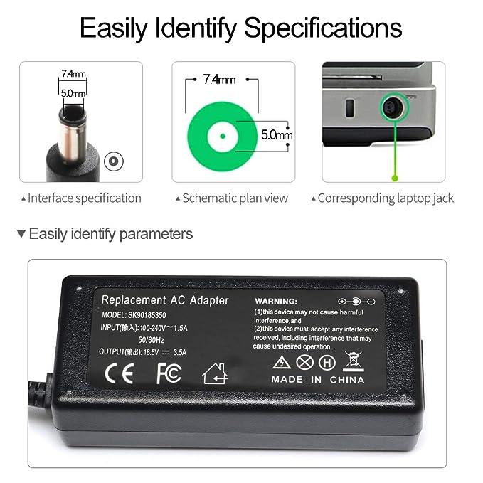 Tinkon 65W Adapter Charger Power Cord for HP 2000-2b19WM 2000-2b29WM 2000-2d11DX Compaq Presario CQ57 CQ50 EliteBook 2540p 2560p 2570p HP 2000 ...