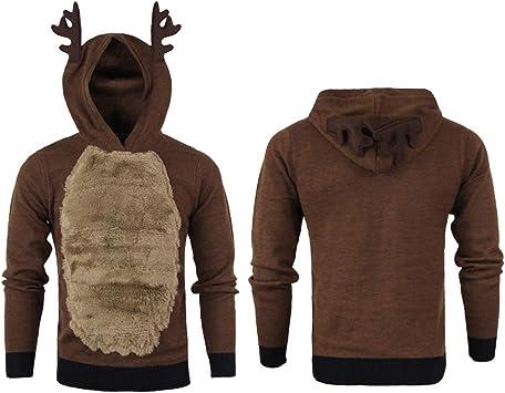 Mens Reindeer Hooded Christmas Xmas Hoody Fleece Sweater Jumper Brown XL Size