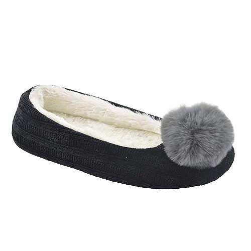 Zapatillas Mujer Casa Zapatilla en Pecera con Piel Sintética Chinelas Niña Pantuflas Peluche con Pompón: Amazon.es: Zapatos y complementos