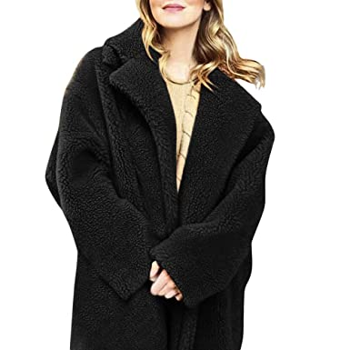 57908beef3a Women s Fleece Coats Casual Lapel Open Front Long Cardigan Coats Fuzzy Faux Fur  Warm Winter Oversized Outwear Jackets  Amazon.co.uk  Clothing