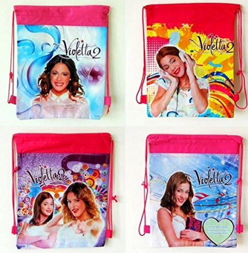 4Pcs Violetta A Non-woven Cartoon Drawstring Backpacks Shopping Bags Kids Children Party Gifts