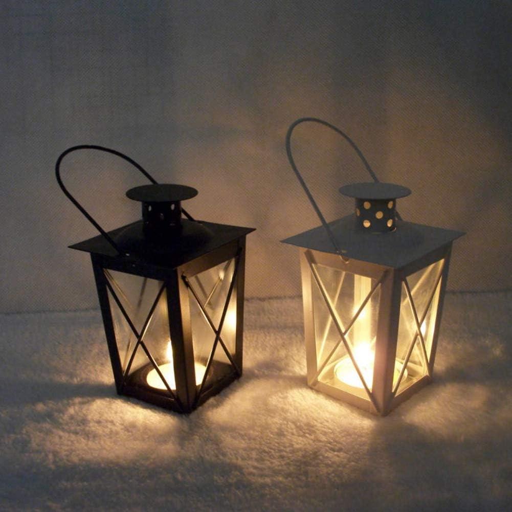 Black Sizet Metal Frame Tabletop Candle Lantern Holder Decorative Storm Lanterns Hanging Decorations