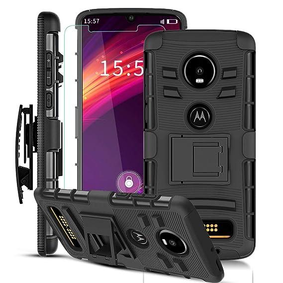 on sale 80eb5 94921 Moto Z4 Case, Moto Z4 Play Case w/Screen Protector & Built-in Kickstand &  Belt Clip[Hybrid Dual Layer][Shockproof Bumper] Heavy Duty Full Body ...