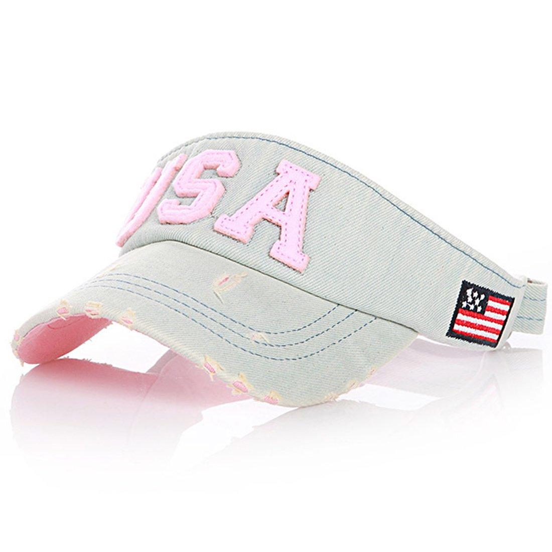 Thenice Kid's Summer Visor Unisex-child Sports Outdoor Sun Cap (Pink)