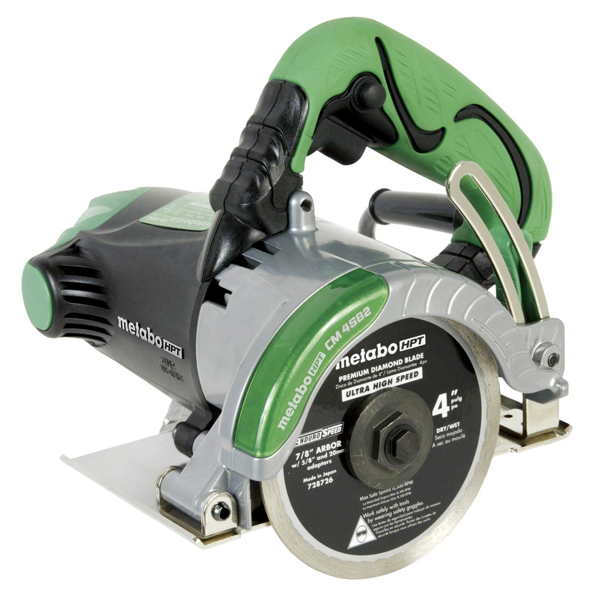 Metabo HPT CM4SB2 Handheld 4-Inch Dry Cut Masonry Saw, Includes 4-Inch Diamond Blade, Cuts Pavers, Concrete, Tile and More, 11.6-Amp Motor, Soft Grip Handle, Compact and Lightweight, 1-Year Warranty