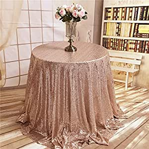 "TRLYC Rose Gold Round Sparkly Sequin Tablecloth 48"" - 196 ..."