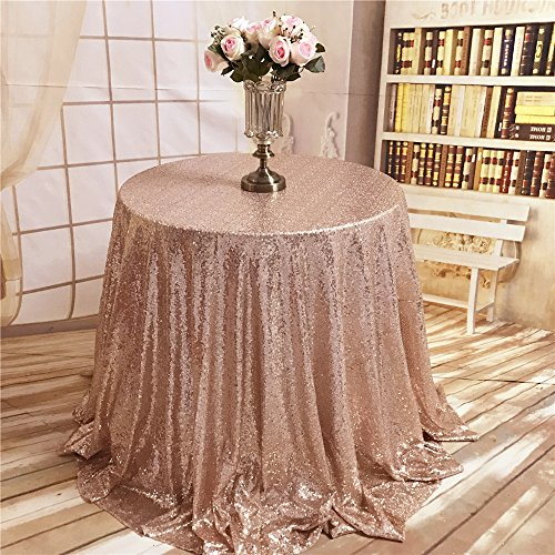 ShiDianYi TRLYC 72-Inch Christmas Rose Gold Round Sequin Tablecloth for Wedding Party Banquet