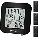 DIGOO TH3330 Digital 3-Channels In & Out Thermometer Hygrometer Sensor Snooze Alarmfunktion Wetterstation, Hygrometer Digital und Thermometer innen außen mit Wecker, große LCD-Anzeige mit 3 channels