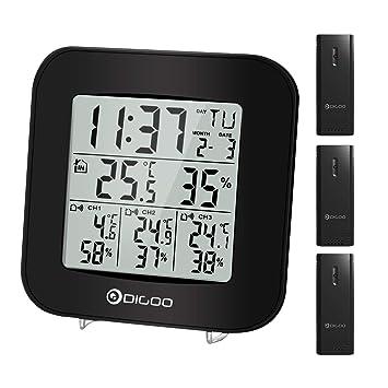 Estación meteorológica inalámbrica, DIGOO TH-3330 Termómetro digital para interiores y exteriores Higrómetro, medidor de humedad ...