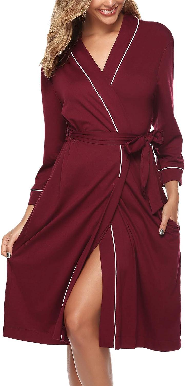 Peignoir de Nuit pour Toutes Les Saisons S-XXL iClosam Robe de Chambre Kimono en Coton pour Femmes en Tricot pour Femmes col en V