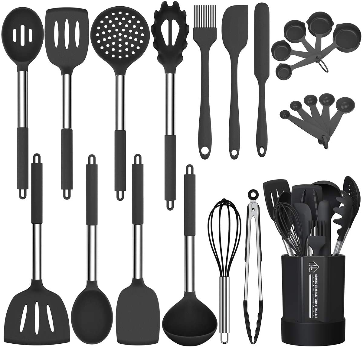 Silicone Cooking Utensil Set, Fungun Non-stick Kitchen Utensil 24 Pcs Cooking Utensils Set, Heat Resistant Cookware, Silicone Kitchen Tools Gift with Stainless Steel Handle (Black-24pcs): Kitchen & Dining