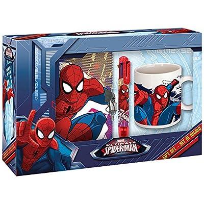 Kids Licensing Set Cadeau Spiderman - Un Journal Intime - Un Stylo 4 Couleurs - Un Mug, MV15247