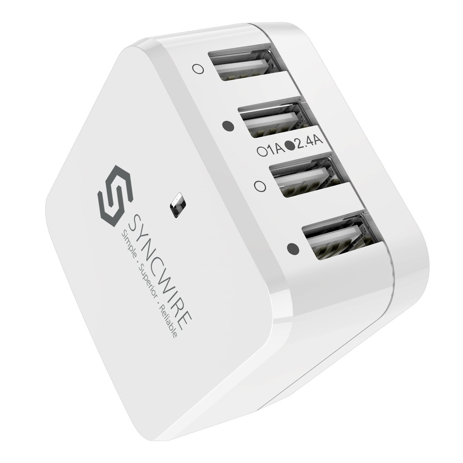 Syncwire 34W 4-Port USB Wall Charger, Multi-Port [Foldable US Plug] Travel Power Adapter with Interchangeable UK/EU Plug for Apple iPhone, iPad, Samsung, Android Phones, Tablets & More - White