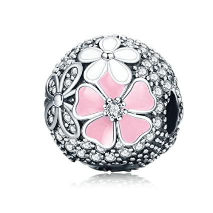 dbbe4639f Pink Cherry Blossom CZ Clip 925 Sterling Silver Bead Love Heart Charm Clip  Charm Lock Stopper