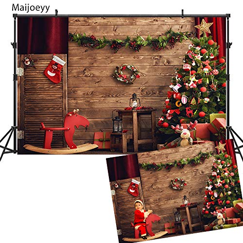 (Maijoeyy 7x5ft Christmas Party Photography Backdrops Wood Wall Christmas Tree Elk Rocking Chair Children Kids Photograph Props Backdrop for Picture)