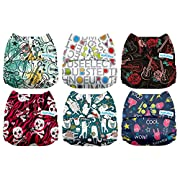 Mama Koala One Size Baby Washable Reusable Pocket Cloth Diapers, 6 Pack with 6 One Size Microfiber Inserts (Don't Stop the Music)