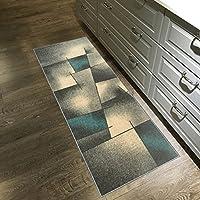 Kapaqua Rubber Backed 22-inch x 5-feet Runner Rug Grey & Blue Modern Abstract Non-Slip Kitchen Bathroom Entryway Hallway 2x5