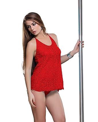 5f8d2c4a91 Amazon.com  Sexy Women Lingerie Lace Nightwear Sets of 2 Bra Penty Women  Wear Bridal Wedding Honey Moon (Red)  Clothing