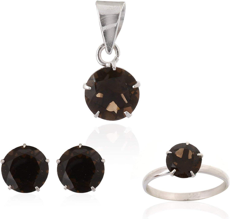 Mughal Gems & Jewellery - Juego de Pendientes, Anillo y Colgante de Plata de Ley 925, Piedra Preciosa de Corte de Cuarzo Ahumado Natural, joyería Fina para Mujeres y niñas