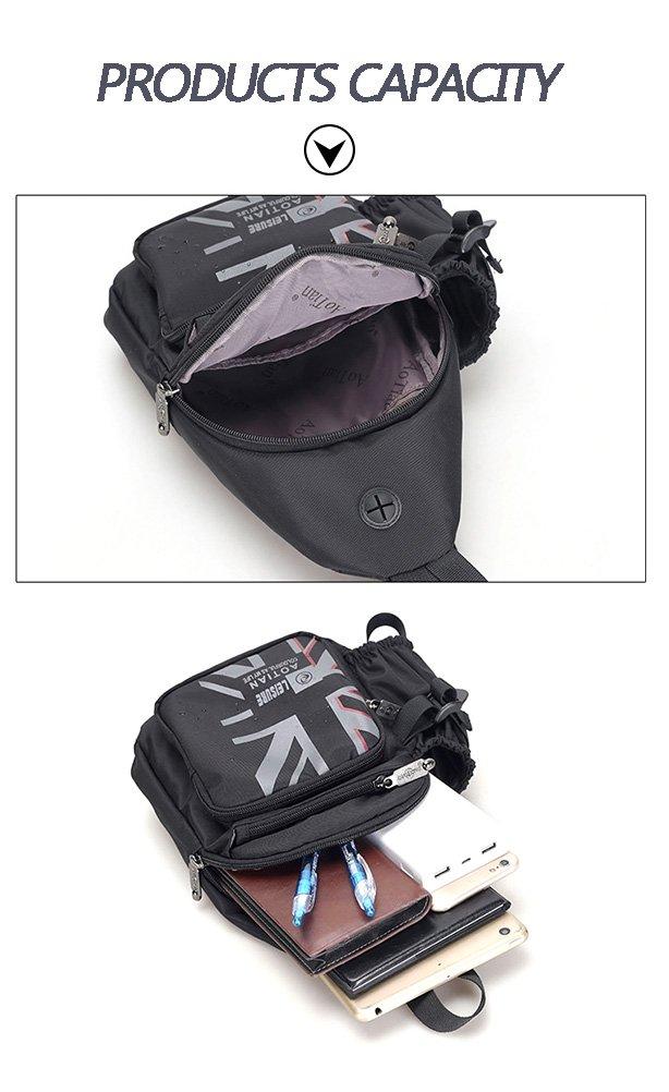 MINGMO Bolso De La Honda Hombro En El Pecho Mochila Crossbody Paquetes Triangulares para Hombres Mujeres Impermeable Nylon con Portabotellas Ligero ...