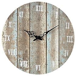 Sterling 128-1009 Wooden Roman Numeral Outdoor Wall Clock, 16-Inch, Belos Light Blue