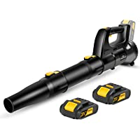 Cordless Leaf Blower, 20V Cordless Sweeper with 2 Batteries, Dual-Speed Settings, Quick Installation and 2-Section Tube…