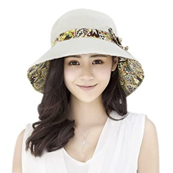 Afinder Women Ladies Reversible Floral Bucket Hats Anti-UV Sun Protection  Foldable Floppy Sun Hats 4aff9b0efd1