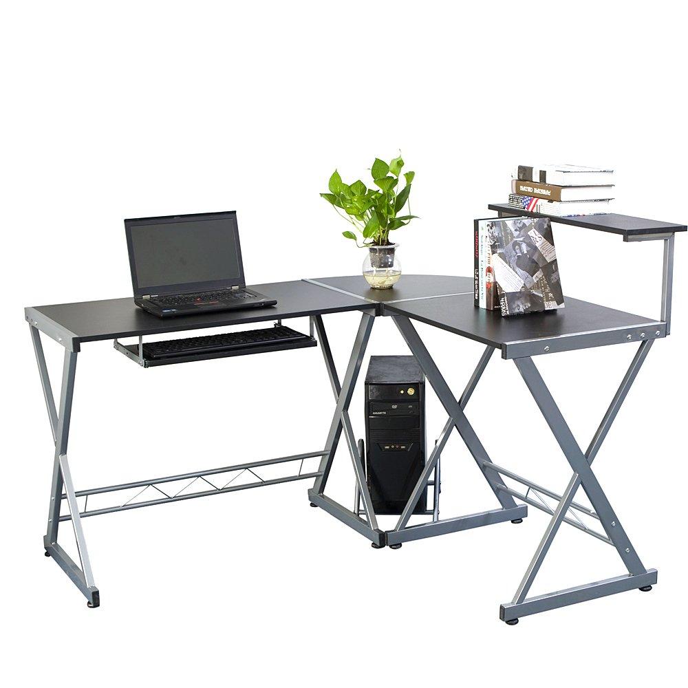 Azadx L-Shape Corner Computer Desk, PC Laptop Table Workstation with Top Shelf Home Office Gray