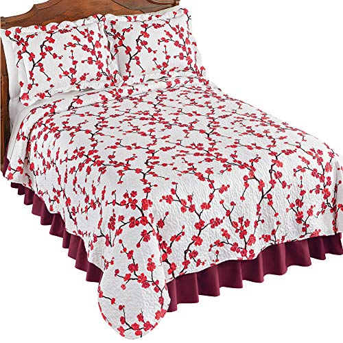 Collections Etc Allison Red Cherry Blossom Textured Quilt with White Background - Spring Bedding Accent, Red, Twin ()