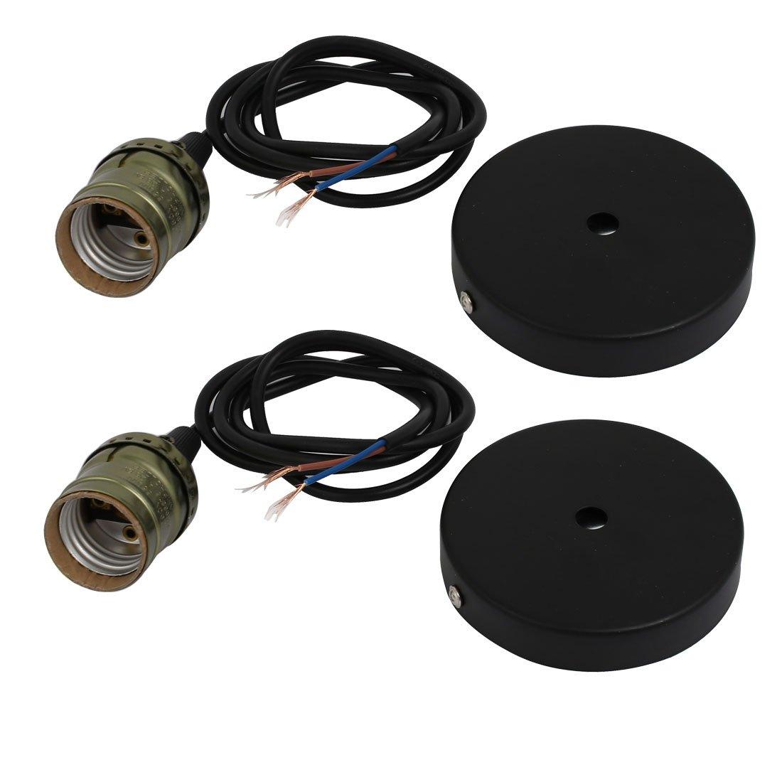 uxcell 2pcs E27 Base Aluminum Shell Lamp Holder Light Socket Bronze Tone w 100mm Dia Fixture
